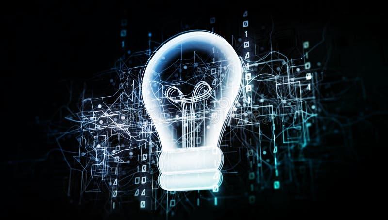 Καινοτόμος λάμπα φωτός στο ιδεατό δίκτυο κυβερνοχώρου με το δυαδικό κώδικα ελεύθερη απεικόνιση δικαιώματος