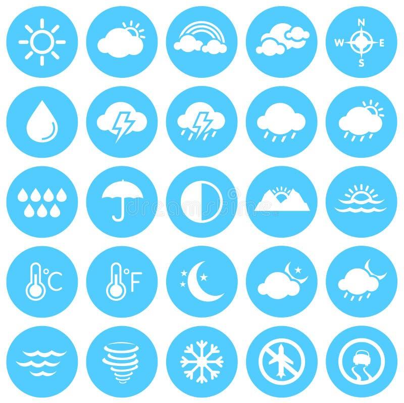 Καιρικά εικονίδια, κλίμα, πρόγνωση καιρού, εποχές διανυσματική απεικόνιση