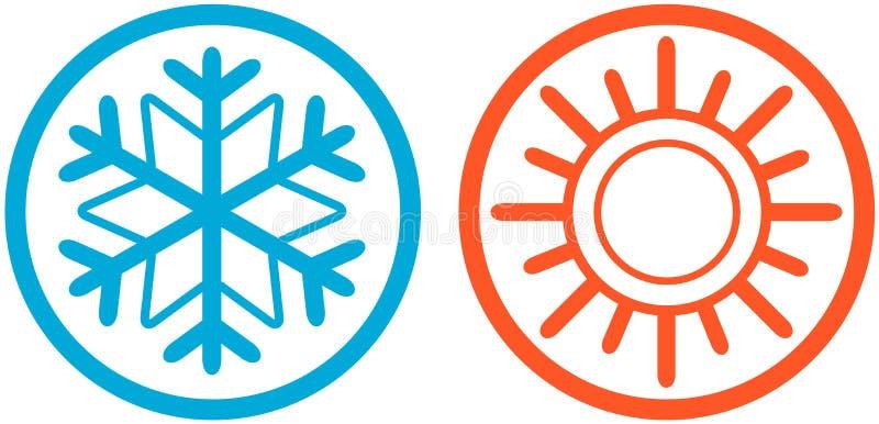 Καιρικά εικονίδια με τον ήλιο και snowflake διανυσματική απεικόνιση