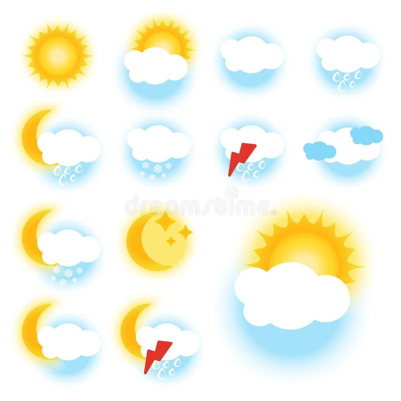 Καιρικά σύμβολα χρώματος - σημάδι, εικονίδιο - EPS 10 διανυσματική απεικόνιση