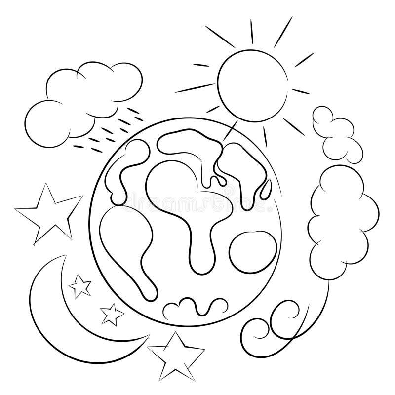 Καιρικός περιγραμματικός πλανήτη Γη που απομονώνεται ελεύθερη απεικόνιση δικαιώματος