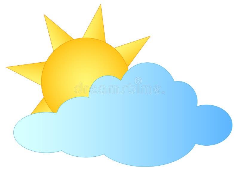 Καιρικό εικονίδιο - σύννεφο και ήλιος διανυσματική απεικόνιση
