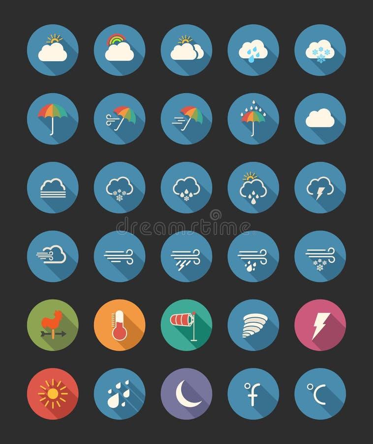 καιρός ήλιων βροχής εικονιδίων σύννεφων διανυσματική απεικόνιση
