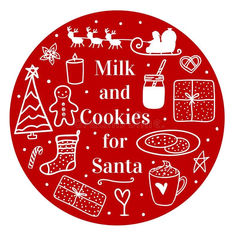 Κακάο και μπισκότα γάλακτος για Santa Άνετο χέρι που επισύρεται την προσοχή σε στρογγυλό Διανυσματική καθορισμένη διάθεση Χαρούμε απεικόνιση αποθεμάτων