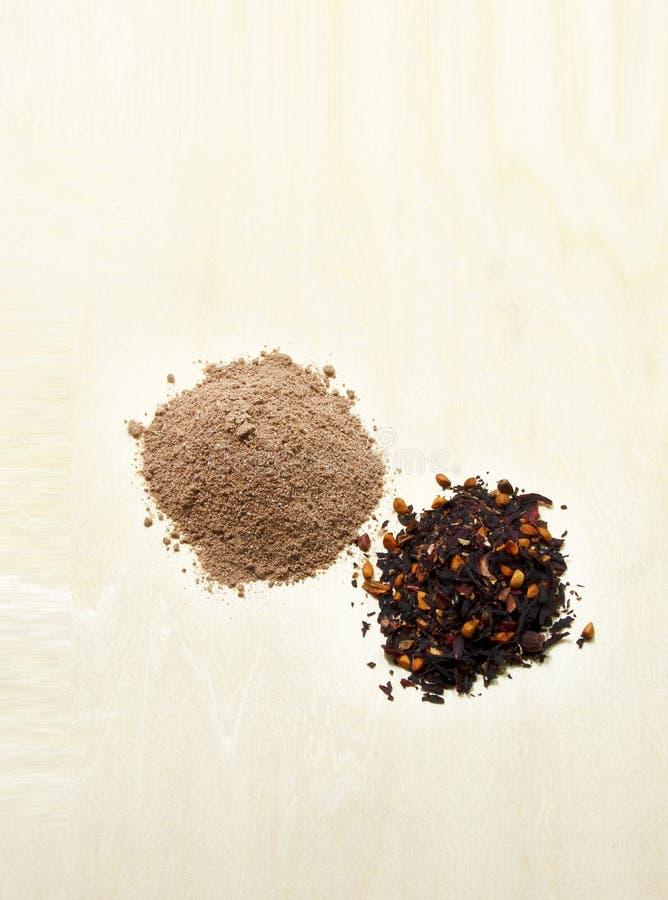 Κακάο, τσάι, αλεύρι στοκ εικόνες