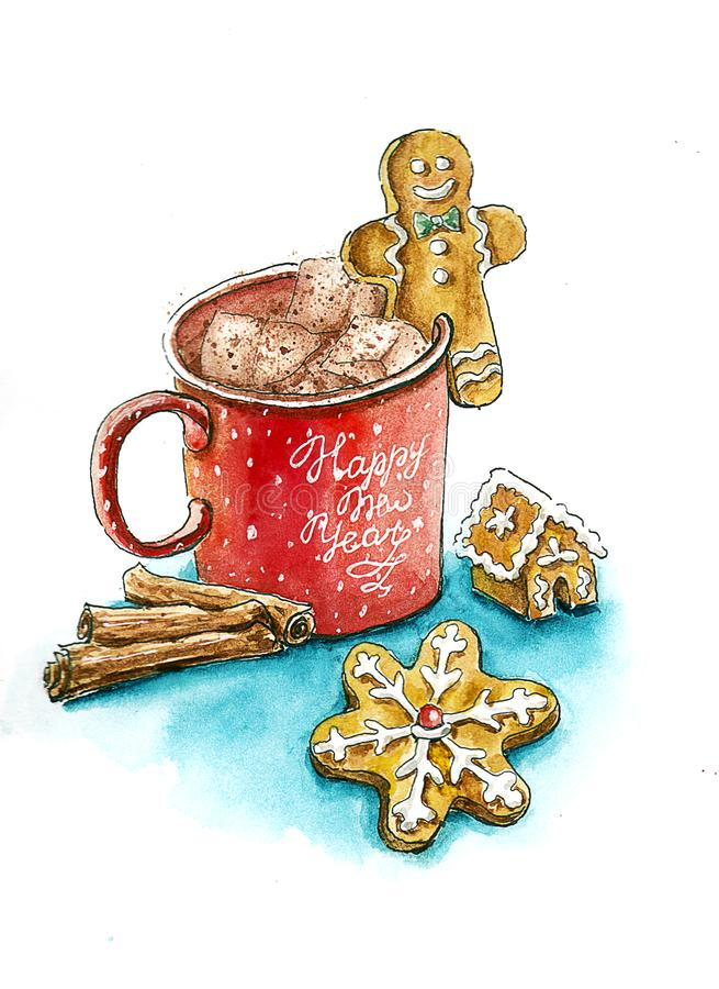 Κακάο χαιρετισμού card_ watercolor Χριστουγέννων με τα καρυκεύματα ελεύθερη απεικόνιση δικαιώματος