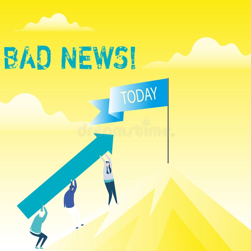 Κακές ειδήσεις κειμένων γραφής Η έννοια που σημαίνει το ανεπιθύμητο πράγμα ή που καταδεικνύει το πρόβλημα hust συνέβη σε κάτι άνθ ελεύθερη απεικόνιση δικαιώματος