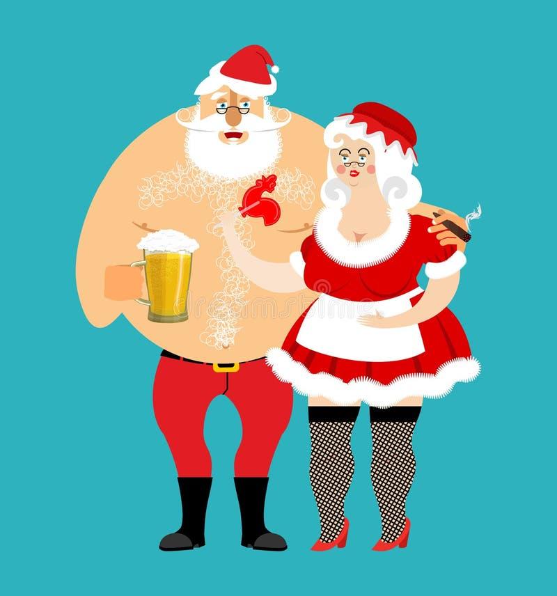 Κακές Santa και κα Claus που απομονώνεται μεθυσμένη οικογένεια Χριστουγέννων Γυναίκα διανυσματική απεικόνιση