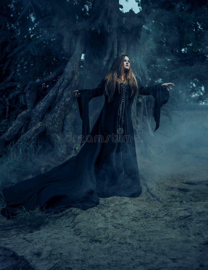 Κακή μάγισσα σε ένα μακρύ εκλεκτής ποιότητας φόρεμα, που περιπλανιέται μέσω των ομιχλωδών FO στοκ εικόνες