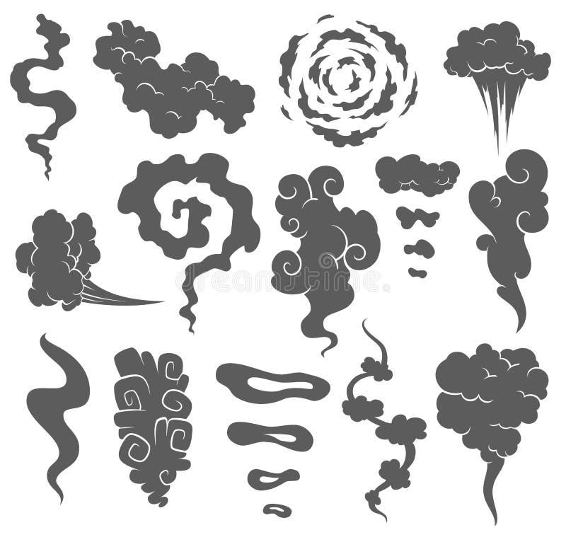 Κακή μυρωδιά Σύννεφα καπνού Σύννεφα καπνού ατμού των τσιγάρων ή των ληγμένων παλαιών εικονιδίων κινούμενων σχεδίων τροφίμων διανυ διανυσματική απεικόνιση