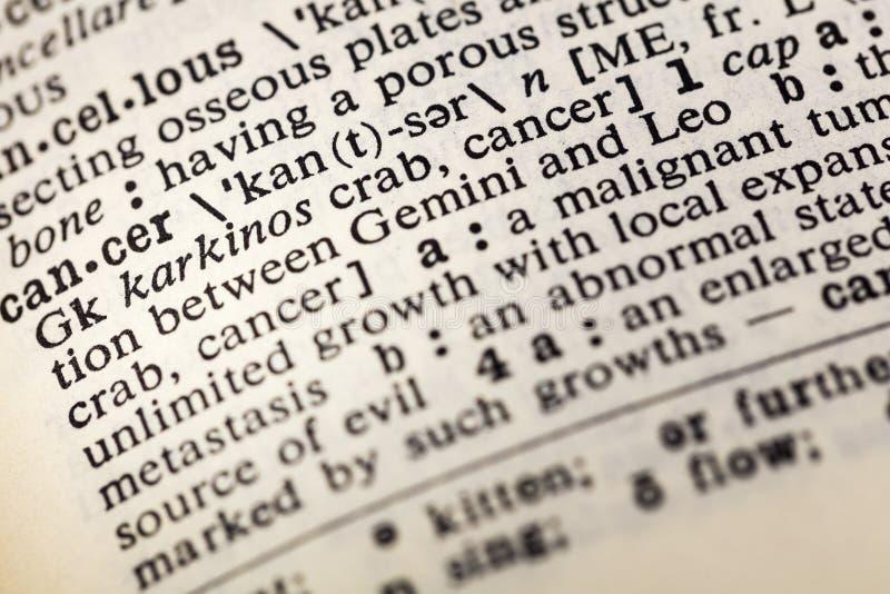 Κακοήθες λεξικό όγκων ασθενειών καρκίνου στοκ εικόνα