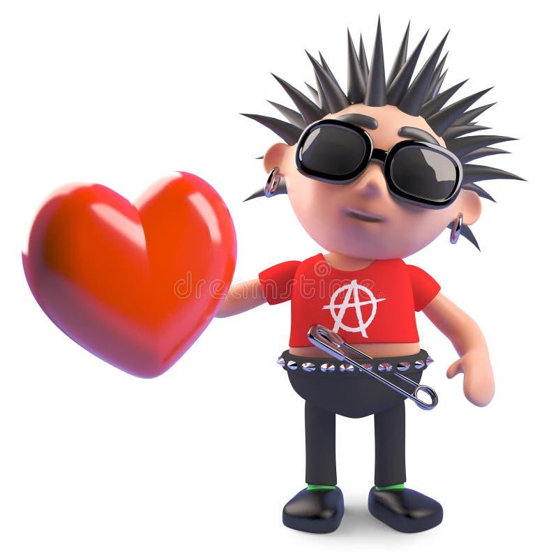 Κακοήθες πανκ κινούμενων σχεδίων που κρατά μια ρομαντική κόκκινη καρδιά, τρισδιάστατη απεικόνιση ελεύθερη απεικόνιση δικαιώματος