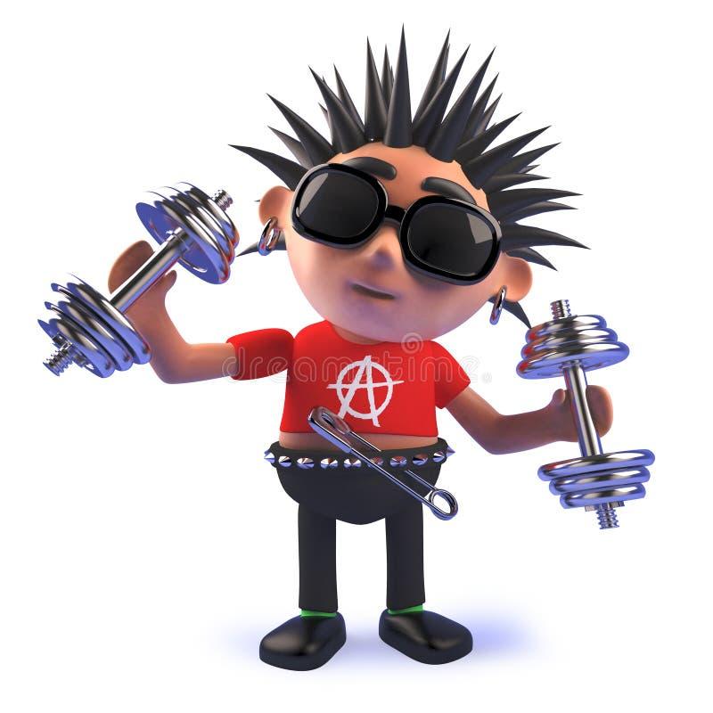 Κακοήθης πανκ rocker κινούμενων σχεδίων χαρακτήρας που ασκεί με τα βάρη dumbell σε τρισδιάστατο απεικόνιση αποθεμάτων