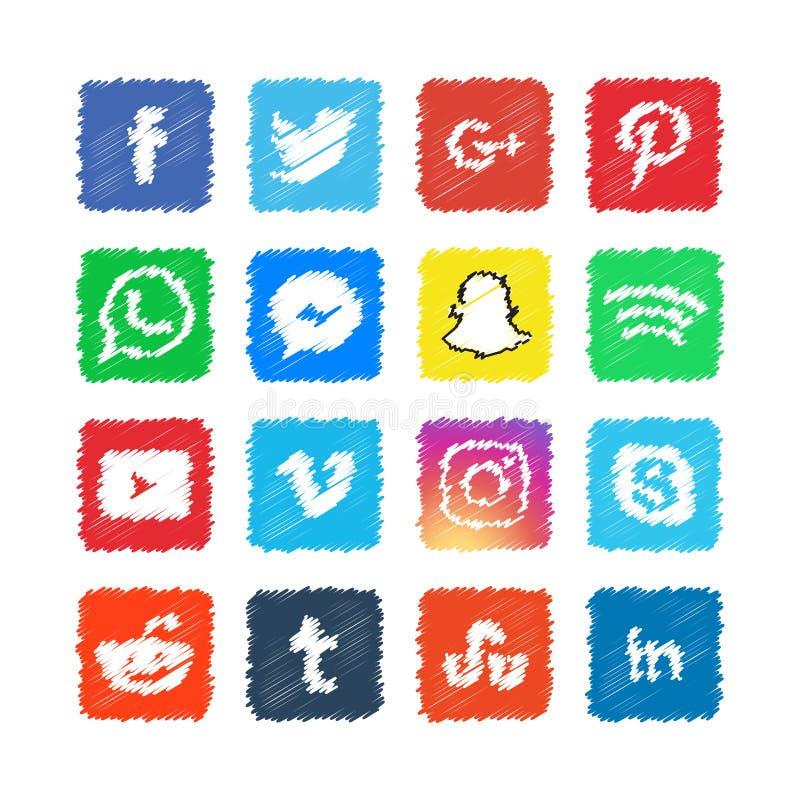 Κακογραφίας κοινωνικό μέσων εικονιδίων σχέδιο απεικόνισης προτύπων διανυσματικό απεικόνιση αποθεμάτων