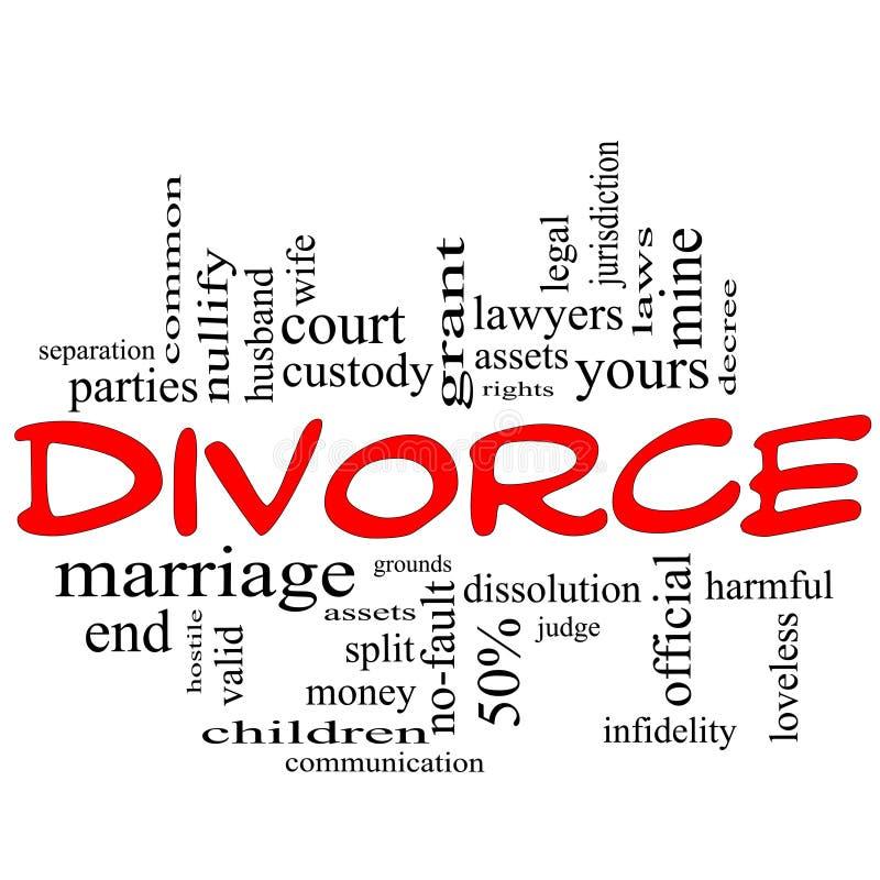 Κακογραφία έννοιας σύννεφων του Word διαζυγίου στο κόκκινο διανυσματική απεικόνιση