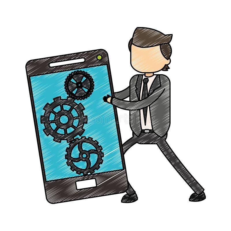 Κακογραφία smartphone εκμετάλλευσης επιχειρηματιών ελεύθερη απεικόνιση δικαιώματος