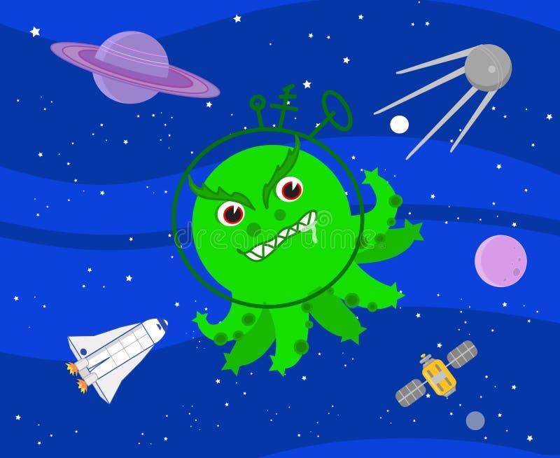 Κακός πράσινος αλλοδαπός στο διάνυσμα μακρινού διαστήματος ελεύθερη απεικόνιση δικαιώματος