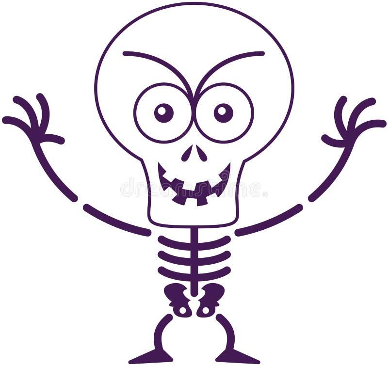 Κακός σκελετός αποκριών που θέτει και που χαμογελά κακόβουλα ελεύθερη απεικόνιση δικαιώματος