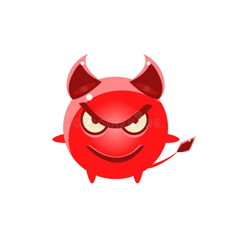 Κακός στρογγυλός χαρακτήρας Emoji διαβόλων απεικόνιση αποθεμάτων