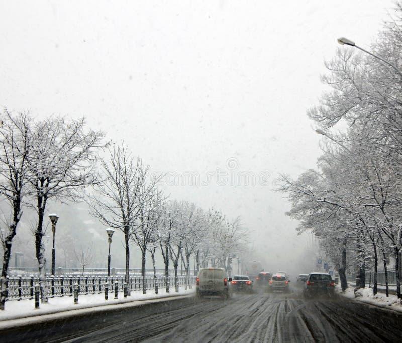 Κακός χειμερινός καιρός του Βουκουρεστι'ου στοκ φωτογραφία