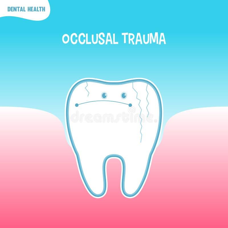 Κακό εικονίδιο δοντιών κινούμενων σχεδίων με το occlusal τραύμα διανυσματική απεικόνιση