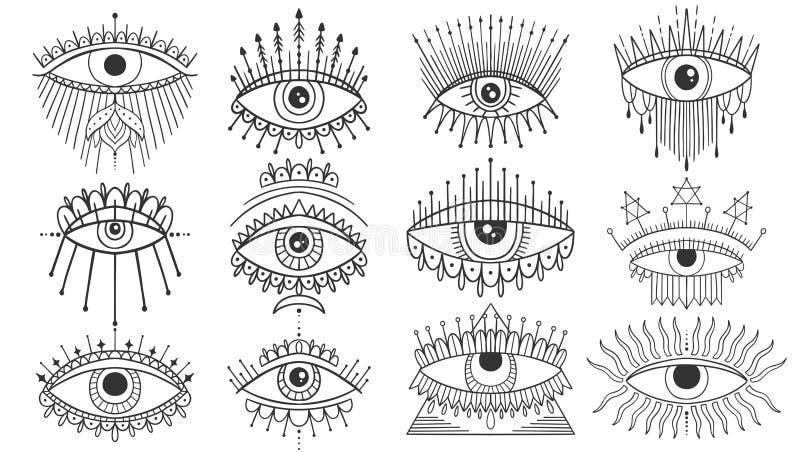 Κακό να δει σύνολο συμβόλων ματιών Απόκρυφο απόκρυφο έμβλημα, γραφική δερματοστιξία σχεδίου Εσωτερική αλχημεία σημαδιών, διακοσμη απεικόνιση αποθεμάτων