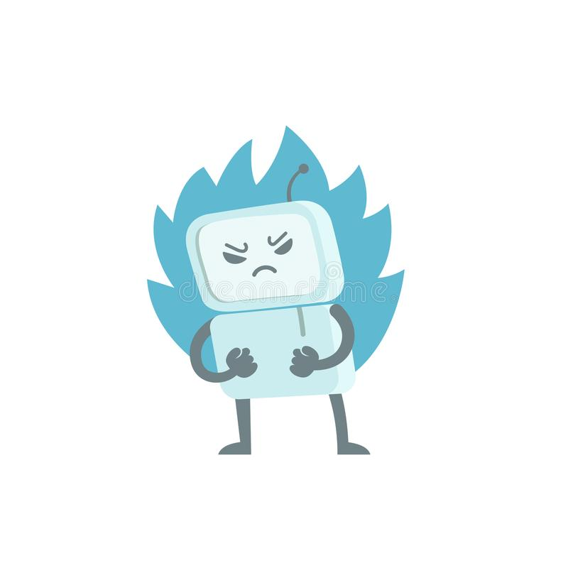 Κακό ρομπότ στο θυμό με τις πυγμές και την πυρκαγιά Troll ιών BOT χαρακτήρα Εξοργισμένος υπολογιστής Επίπεδη διανυσματική απεικόν διανυσματική απεικόνιση