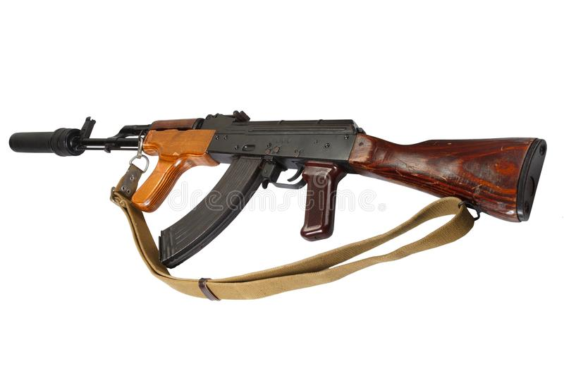 Καλάζνικοφ AK 47 ρουμανική εκδοχή με τον υγιή καταπιεστή (ησυχαστήρας) στοκ φωτογραφία