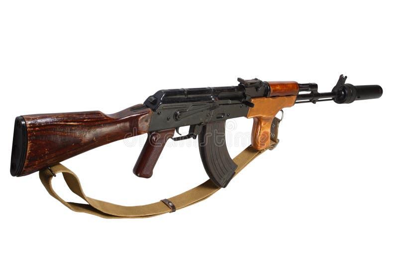 Καλάζνικοφ AK 47 ρουμανική εκδοχή με τον υγιή καταπιεστή (ησυχαστήρας) στοκ φωτογραφίες