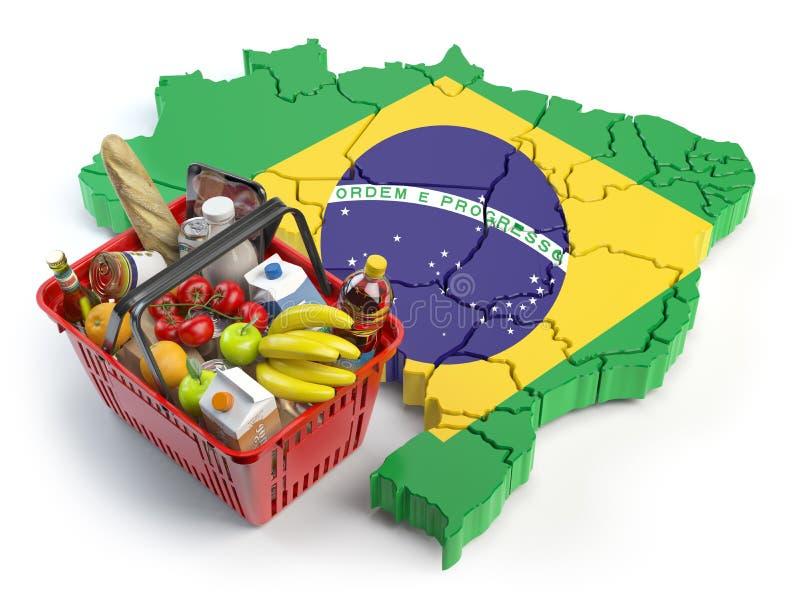 Καλάθι αγοράς ή δείκτης τιμών καταναλωτή στη Βραζιλία υπεραγορά αγορών πελατών διανυσματική απεικόνιση