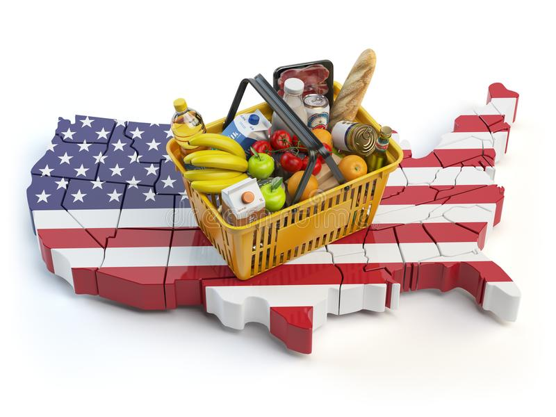 Καλάθι αγοράς ή δείκτης τιμών καταναλωτή στις ΗΠΑ Ηνωμένες Πολιτείες κατάστημα διανυσματική απεικόνιση