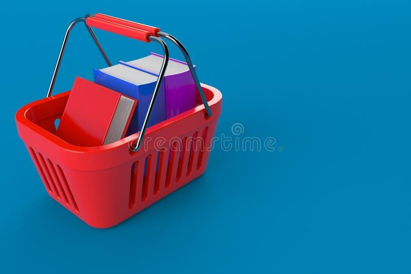 Καλάθι αγορών με τα βιβλία διανυσματική απεικόνιση