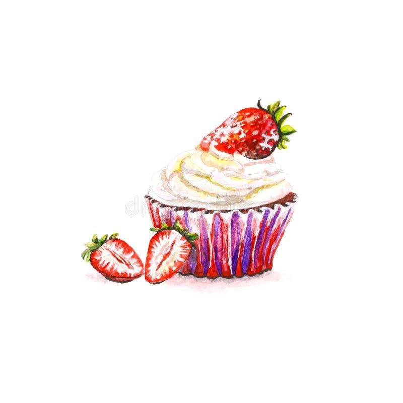 Καλάθι κέικ με την κρέμα και φράουλες στην κορυφή Hand-drawn Ένα wa ελεύθερη απεικόνιση δικαιώματος