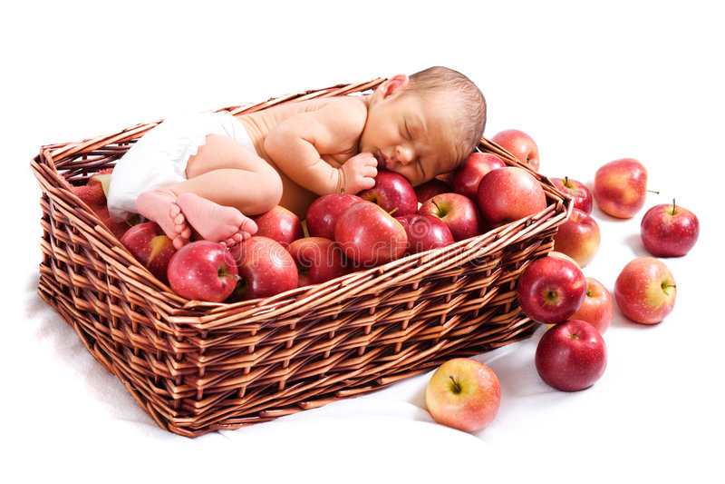 καλάθι μήλων νεογέννητο στοκ εικόνα με δικαίωμα ελεύθερης χρήσης