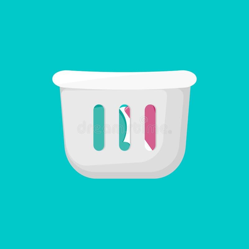 Καλάθι πλυντηρίων για το λουτρό Εικονίδιο κινούμενων σχεδίων απεικόνιση αποθεμάτων