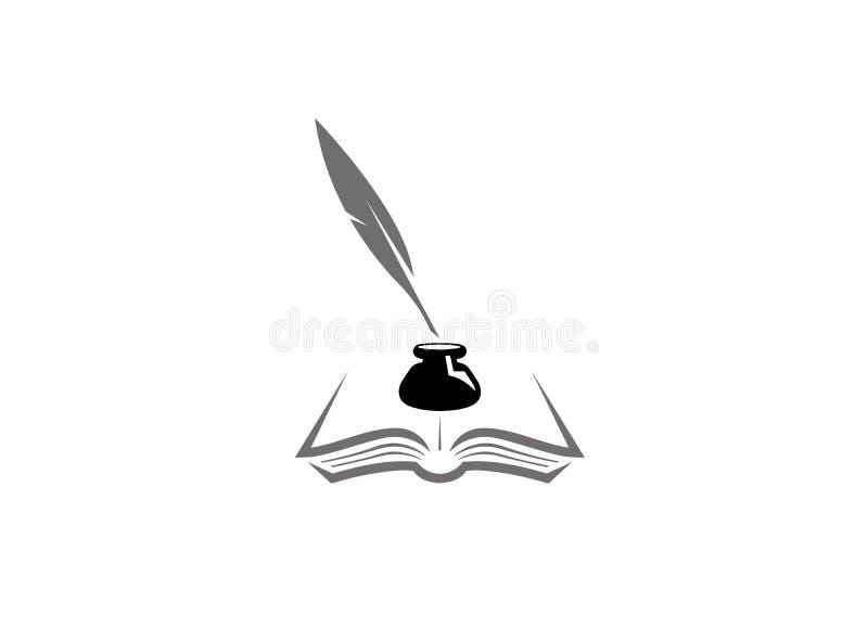 Καλάμι μέσα σε ένα inkwell στα έγγραφα για ένα ανοικτό βιβλίο, Feder und Buch mit Tintenfass για το λογότυπο ελεύθερη απεικόνιση δικαιώματος