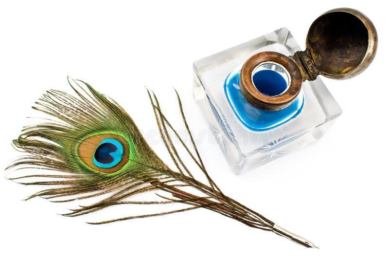 καλάμι φτερών inkwell peacock στοκ εικόνα με δικαίωμα ελεύθερης χρήσης