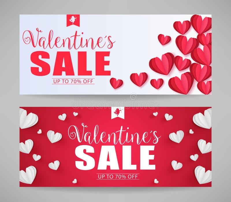 Καλά διανυσματικά εμβλήματα πώλησης βαλεντίνων με τις καρδιές ύφους εγγράφου διανυσματική απεικόνιση