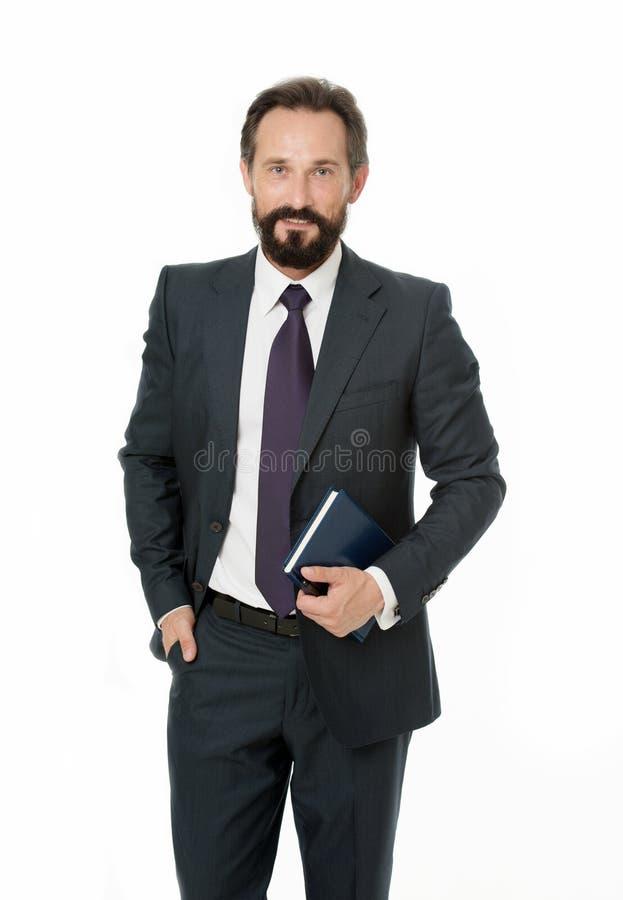 Καλά οργανωμένος Σημειωματάριο λαβής προγράμματος προγραμματισμού επιχειρηματιών Γενειοφόρο πρόσωπο χαμόγελου διευθυντών ατόμων ε στοκ εικόνες με δικαίωμα ελεύθερης χρήσης