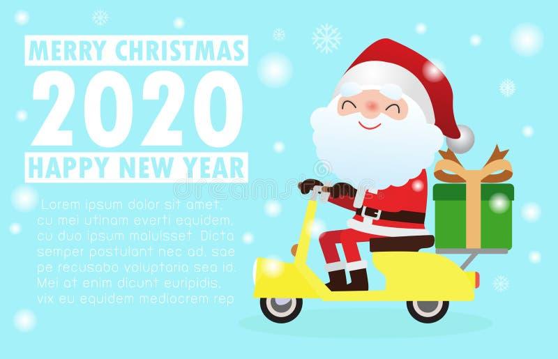 Καλά Χριστούγεννα και Ευτυχισμένος ο καινούργιος χρόνος Χριστουγεννιάτικοι εορτασμοί με χαριτωμένο άϊ βασίλη να καβαλάει μοτοσικλ απεικόνιση αποθεμάτων