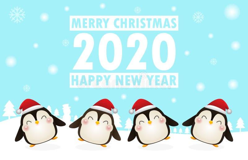 Καλά Χριστούγεννα και Ευτυχισμένος ο καινούργιος χρόνος Χριστουγεννιάτικοι εορτασμοί με χαριτωμένο πιγκουίνο που χορεύει για χρισ διανυσματική απεικόνιση