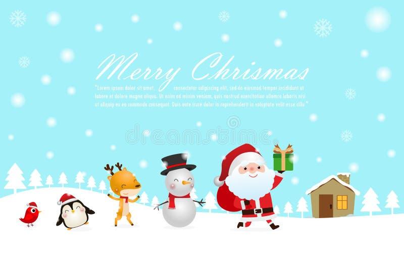 Καλά Χριστούγεννα και Ευτυχισμένος ο καινούργιος χρόνος Χριστουγεννιάτικοι εορτασμοί με χαριτωμένο Άγιο Βασίλη και ταράνδο, χιονά διανυσματική απεικόνιση