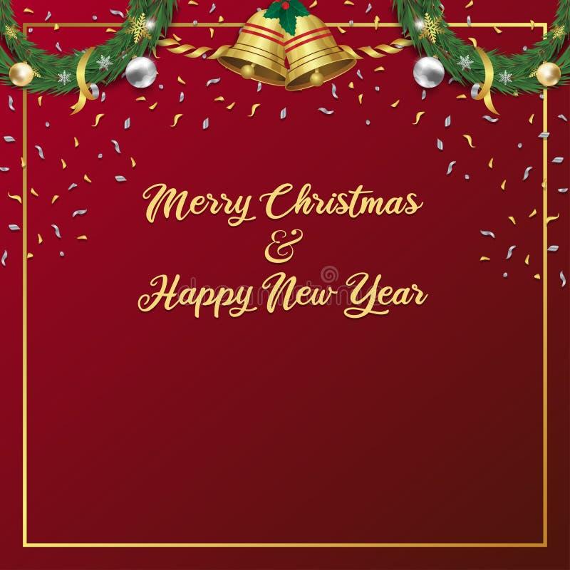 Καλά Χριστούγεννα και ευτυχισμένο το νέο έτος φόντο για την προώθηση και τη διαφήμιση διανυσματική απεικόνιση