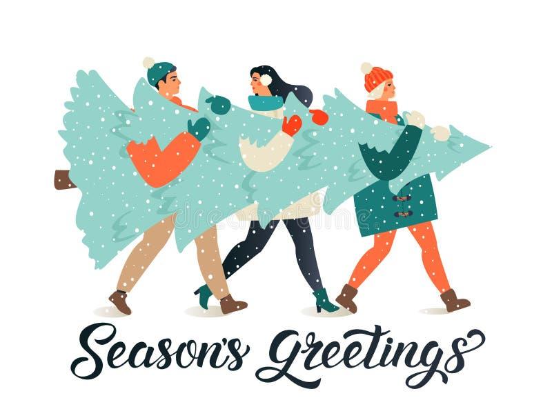 Καλά Χριστούγεννα και ευχετήριες κάρτες για το νέο έτος Ομάδα ανθρώπων που κουβαλούν μαζί τους ένα μεγάλο ξωτικό πεύκο για τις γι διανυσματική απεικόνιση