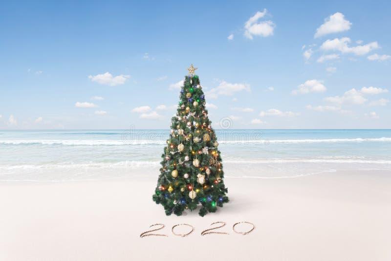 Καλά Χριστούγεννα και πρωτοχρονιάτικη τροπική παραλία στοκ εικόνες με δικαίωμα ελεύθερης χρήσης