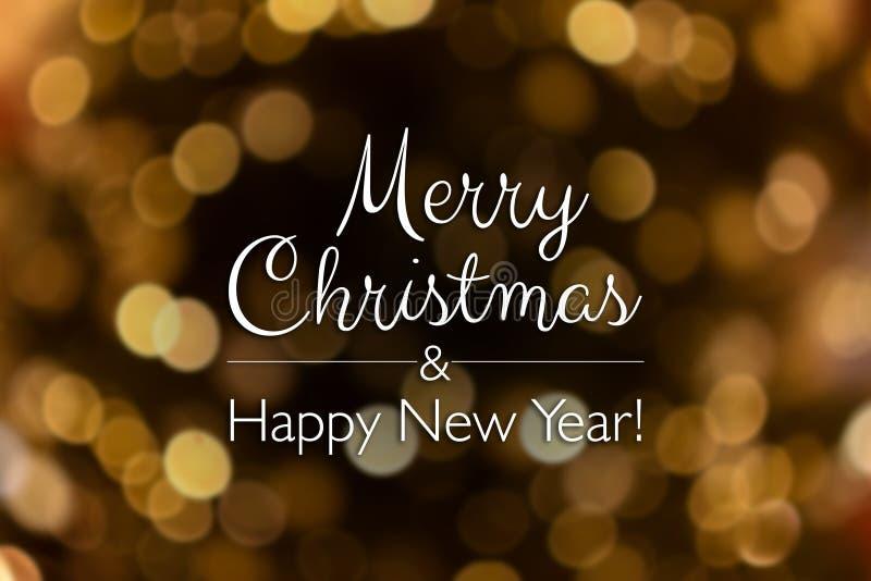 Καλά Χριστούγεννα και χαρούμενη κάρτα για το νέο έτος Θαμπό φόντο έντονου χρυσού στοκ φωτογραφία με δικαίωμα ελεύθερης χρήσης