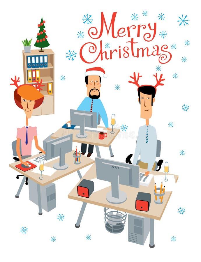 Καλά Χριστούγεννα Πάρτι στο γραφείο Χαρούμενοι συνάδελφοι γιορτάζουν και εργάζονται διανυσματική απεικόνιση