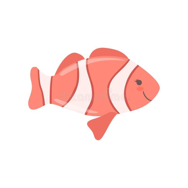 Καλά ψάρια κλόουν, χαριτωμένη διανυσματική απεικόνιση χαρακτήρα πλασμάτων θάλασσας σε ένα άσπρο υπόβαθρο απεικόνιση αποθεμάτων