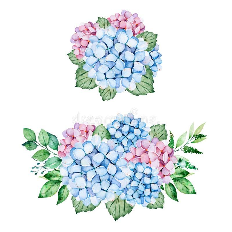 2 καλές ανθοδέσμες με τα μπλε και πορφυρούς λουλούδια hydrangea, τους κλάδους και τα φύλλα απεικόνιση αποθεμάτων