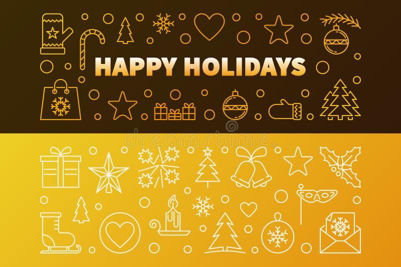 Καλές διακοπές χρυσά διανυσματικά εμβλήματα περιλήψεων καθορισμένα απεικόνιση αποθεμάτων
